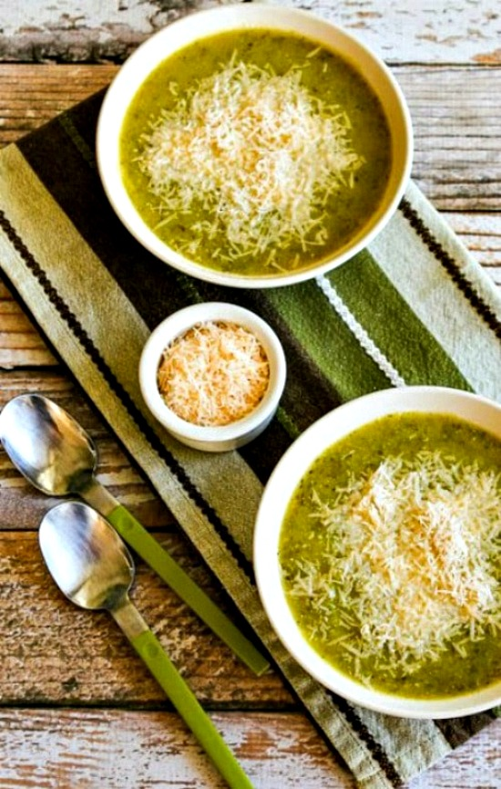 Zucchini and Yellow Squash Soup from Kalyn's Kitchen, soup in bowls with Parmesan on the side
