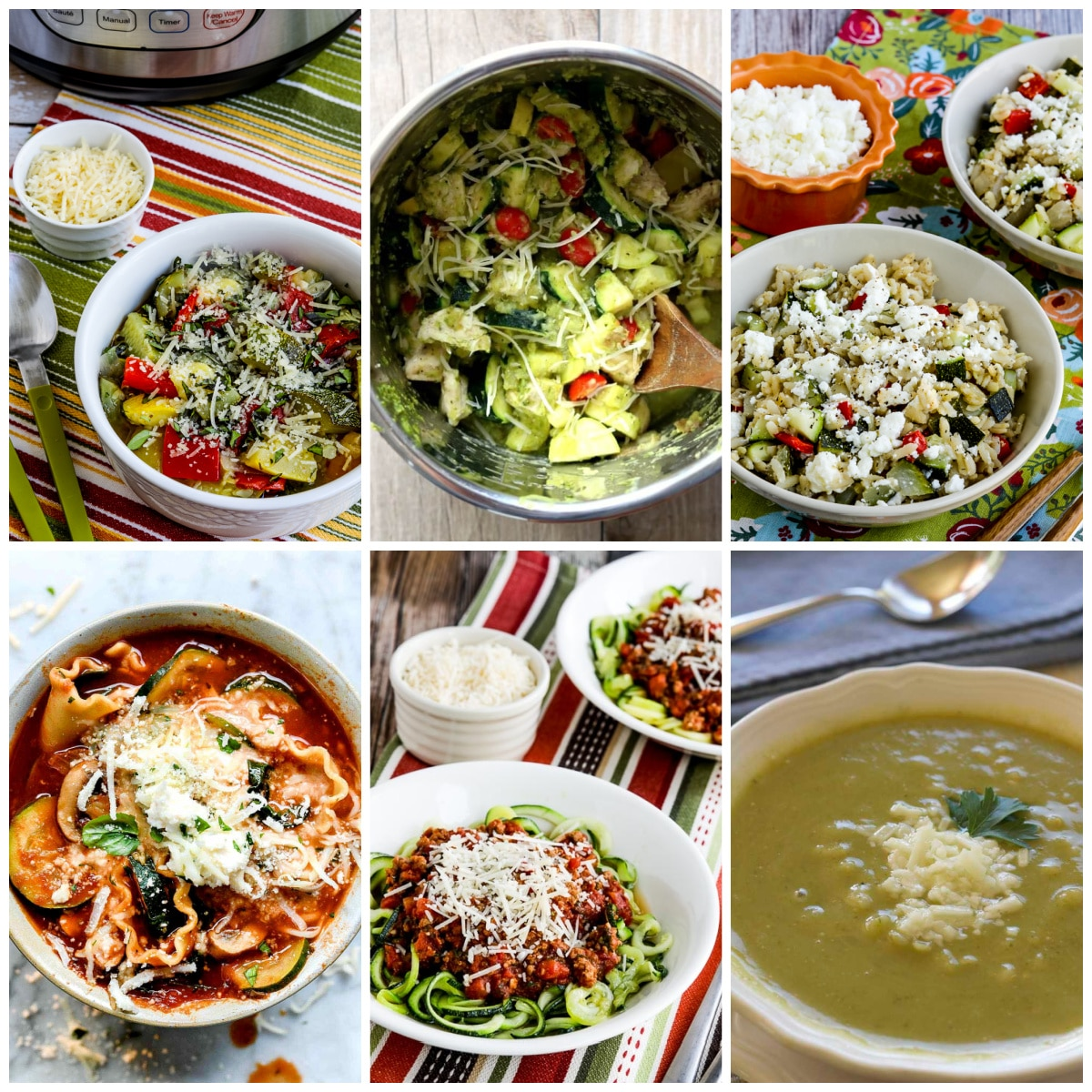 Slow Cooker and Instant Pot Zucchini Recipes collage of featured recipes