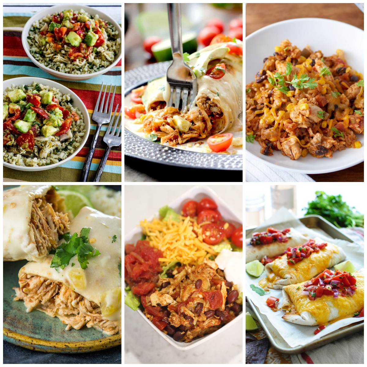 Slow Cooker or Instant Pot Chicken Burritos Recipes collage photo