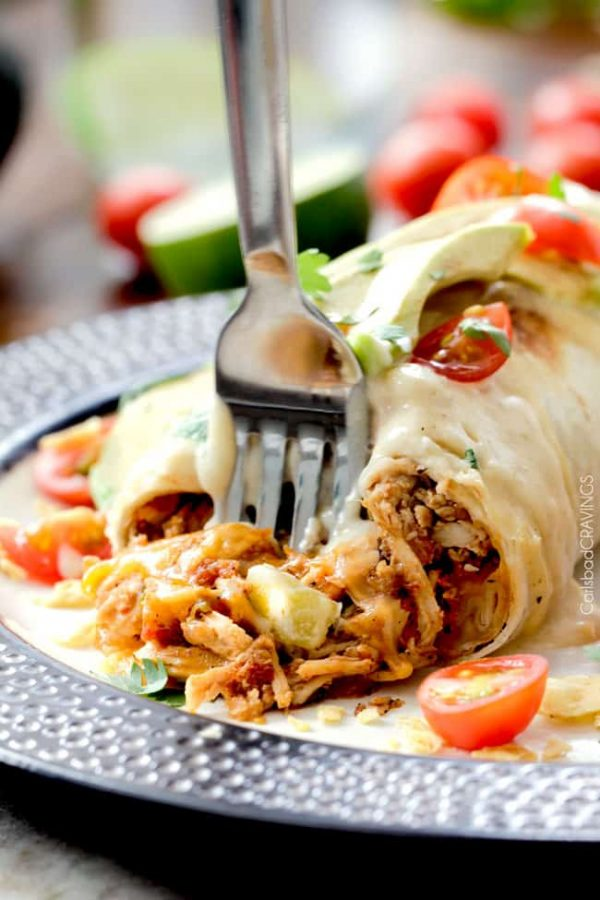 Smothered Baked Chicken Burritos from Carlsbad Cravings