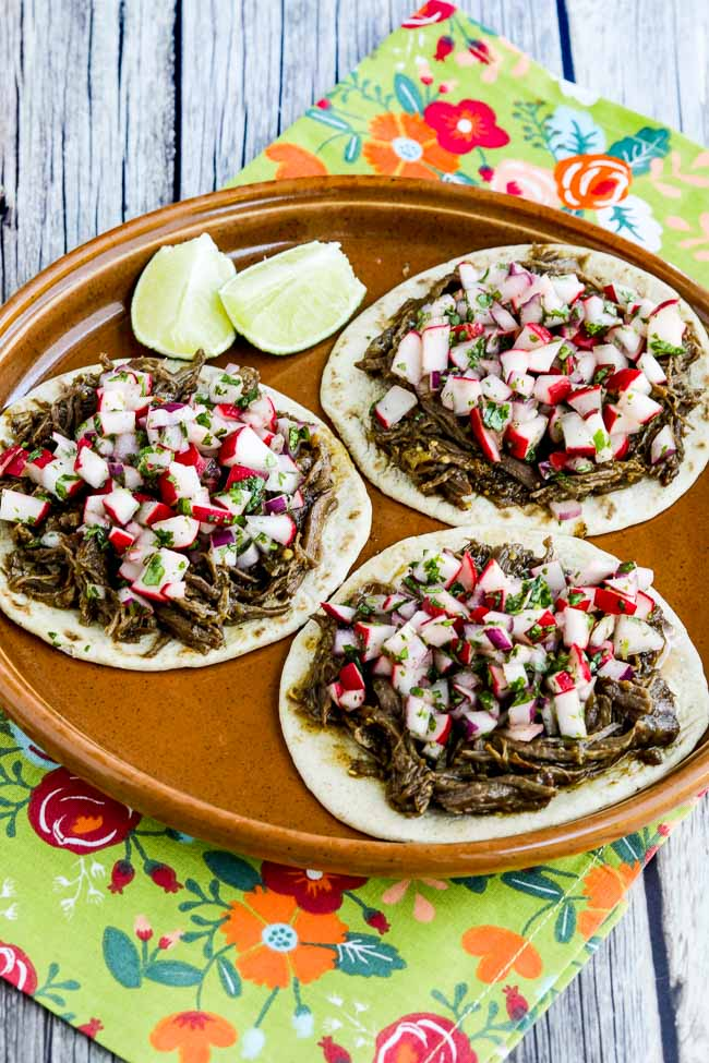 Spicy Shredded Beef Street Tacos from Kalyn's Kitchen