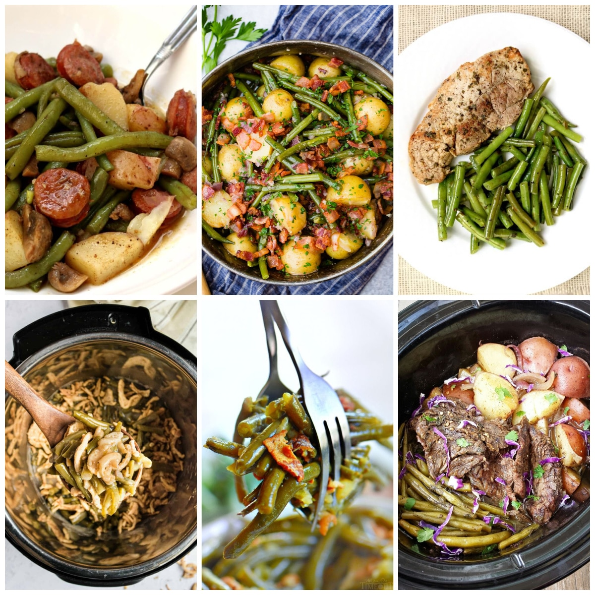 Slow Cooker or Instant Pot Recipes for Green Beans photo collage