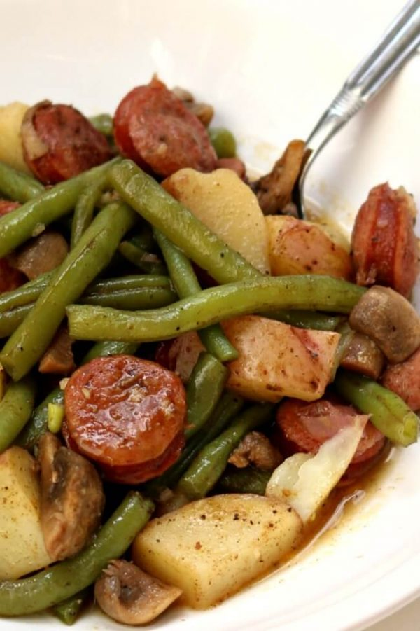 Instant Pot Cajun Sausage, Potatoes and Green Beans from 365 Days of Slow + Pressure Cooking