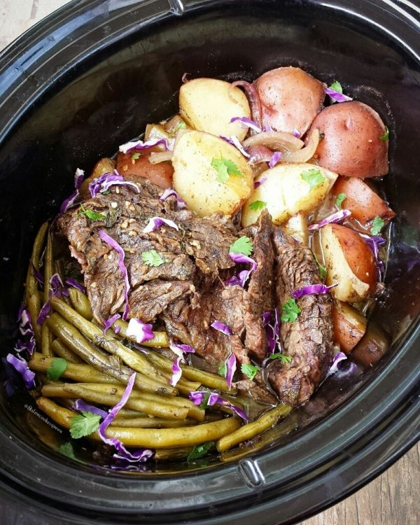 Slow Cooker Caribbean Beef, Potatoes, and Green Beans from Fit Slow Cooker Queen