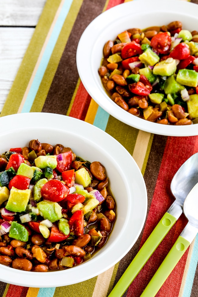 Instant Pot Mexican Beans from Kalyn's Kitchen, finished beans in two serving bowls